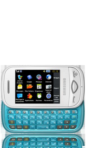 perdu portable samsung b3410 blanc avec c t turquoise une personne objets. Black Bedroom Furniture Sets. Home Design Ideas